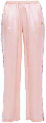 Morgan Lane Yana Embroidered Striped Satin Pajama Pants