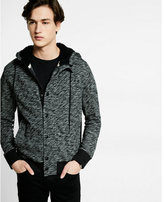 Express marled snap front hoodie with sherpa