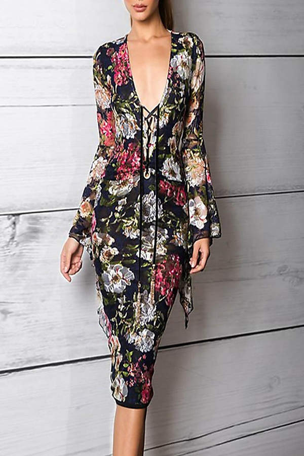 Savee Couture Floral Mesh Dress