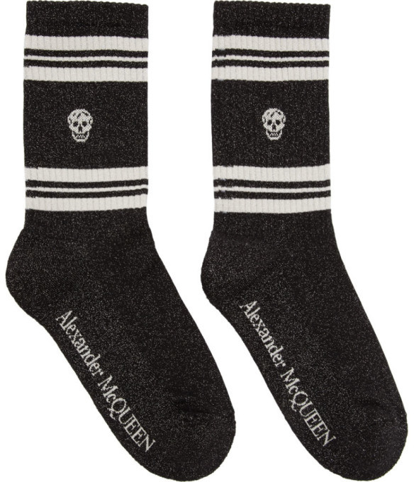 Alexander McQueen Black and White Glitter Stripe Skull Sport Socks