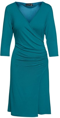 Conquista Faux Wrap Dress In Sustainable Fabric Jersey In Petrol