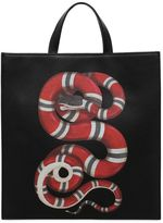 Gucci Snake Print Grained Leather Tote Bag