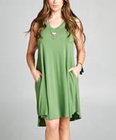 Lydiane Women's Casual Dresses KIWI - Kiwi V-Neck Sleeveless Curved-Hem Pocket Dress - Plus