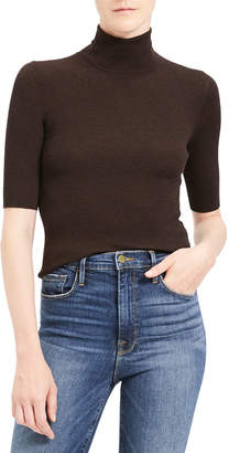 Theory Leenda Slim Regal Wool Elbow-Sleeve Turtleneck Sweater