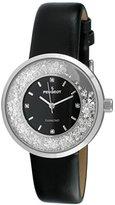 Peugeot Women's Round Silver Slim Thin Genuine Diamond Floating CZ Black Band Dress Watch 3041SBK
