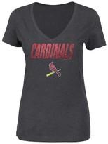 MLB St. Louis Cardinals Women's V-Neck Heather Gray Glitter Print T-Shirt