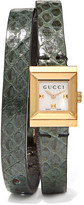 Gucci Elaphe And Gold-tone Watch - Forest green