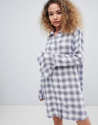 En Creme long sleeve check shirt dress-Multi