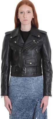 Balenciaga Leather Jacket In Black Leather