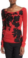 Naeem Khan Boat-Neck Lightweight Cashmere Sweater w/ Lace Overlay