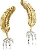 Forzieri Bernard Delettrez Bronze Feather w/Silver Claw Earrings