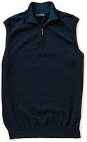 Roundtree & Yorke Big & Tall Birdseye Quarter-Zip Sweater Vest