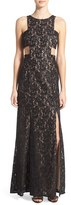 Women's Morgan & Co. Side Cutout Lace Gown