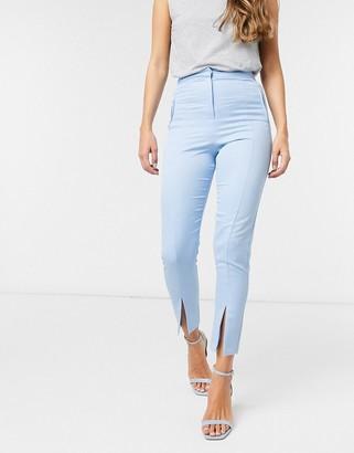 ASOS DESIGN split-front skinny-fit pants in pastel blue