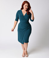 Kiyonna Plus Size Teal Criss Cross Faux Wrap Vixen Dress