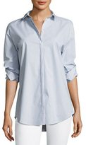 Lafayette 148 New York Idaline Striped Button-Front Stretch-Cotton Blouse