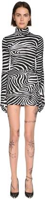 Vetements Zebra Print Lycra Mini Dress W/ Gloves