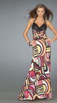 La Femme Long Halter Printed Dress 14283