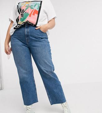 ASOS DESIGN Curve high rise stretch 'effortless' crop kick flare jeans in mid vintage wash