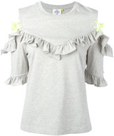 SteveJ & YoniP Steve J & Yoni P - open shoulder ruffle top - women - Cotton - XS