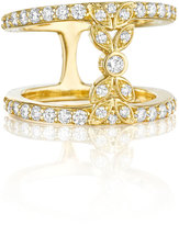 Penny Preville 18k Yellow Gold Pave Diamond Double-Band Bow Ring