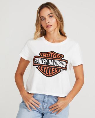 Harley-Davidson Crop Bar And Sheild Tee White