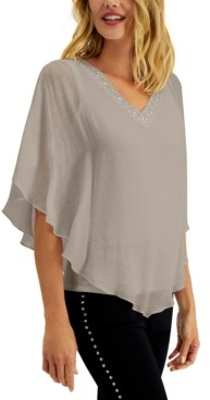 JM Collection Petite Embellished Poncho Top, Created for Macy's