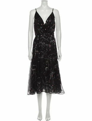 Valentino Silk Midi Length Dress Black