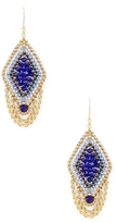 Miguel Ases Beaded Geometric Diamond Drop Earrings