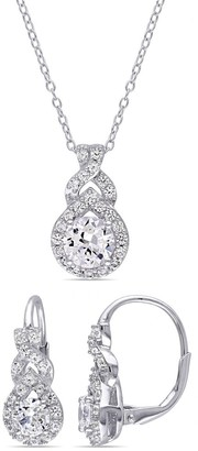 Miadora Sterling Silver Created White Sapphire Loop Halo Necklace and Earrings Set