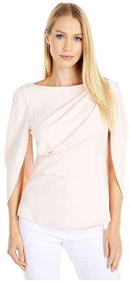 Adrianna Papell Cowl Crepe Cape Top (Satin Blush) Women's Clothing