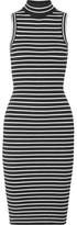 MICHAEL Michael Kors Striped Ribbed Stretch-knit Turtleneck Dress - Black