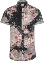 River Island Mens Big and Tall black floral short sleeve shirt