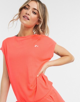 Only Play Sul short-sleeved training T-shirt in fiery coral
