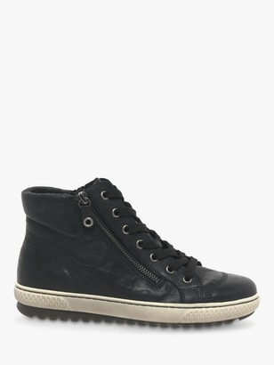 Gabor Bulner Leather Hi-Top Trainers, Black