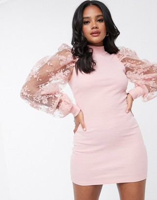 Femme Luxe bodycon dress with floral lace balloon sleeves in pink