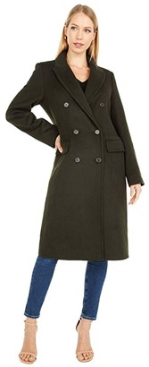 Lauren Ralph Lauren Double Breasted Wool Reefer w/ Peak Lapel (Black) Women's Coat