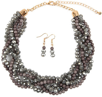 Riah Fashion Women's Earrings GRAY - Gray Crystal & Goldtone Twist Beaded Statement Necklace Set