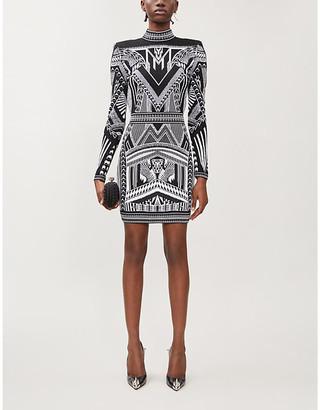 Balmain Geometric-print stretch-knit mini dress