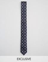 Reclaimed Vintage Inspired Paisley Tie In Navy