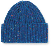 Drakes Drake's - Ribbed Donegal Merino Wool Beanie - Blue