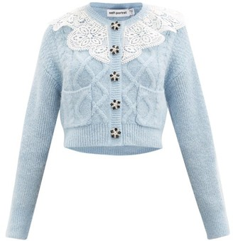 Self-Portrait Lace-collar Cropped Cable-knit Cardigan - Light Blue