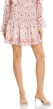 Aqua Toile Floral Print Smocked Mini Skirt - 100% Exclusive