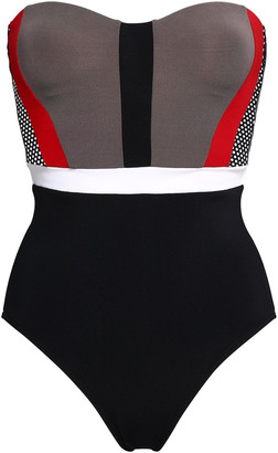 Jets Aspire Mesh-paneled Color-block Bandeau Swimsuit