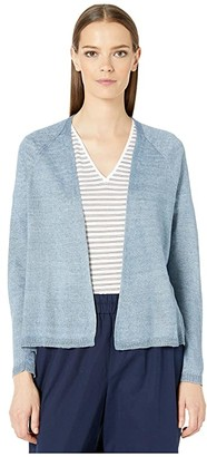 Eileen Fisher Organic Linen Delave V-Neck Cardigan (Chambray) Women's Clothing