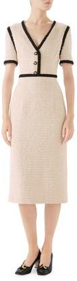 Gucci Boucle Tweed Short Sleeve V-Neck Dress