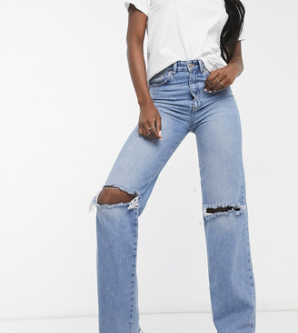 Stradivarius Tall straight leg 90s jeans with rips in blue