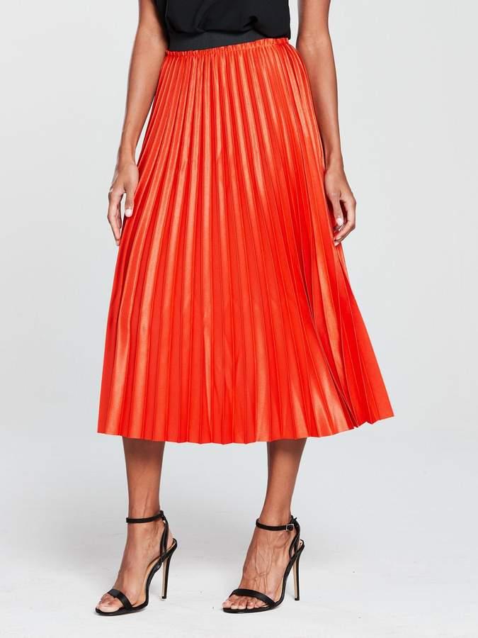 MANGO Metallic Pleated Midi Skirt - Orange