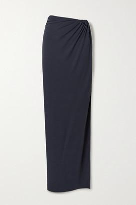 Brandon Maxwell Wrap-effect Gathered Jersey Maxi Skirt - Midnight blue