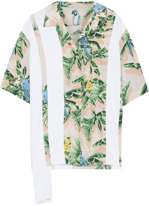 Stella McCartney Crepe-paneled Printed Silk Crepe De Chine Shirt